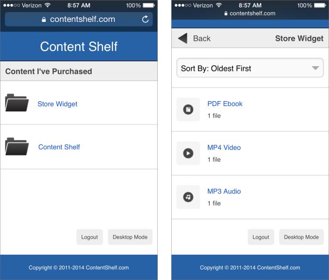 Content Shelf Mobile Mode Screen Shots
