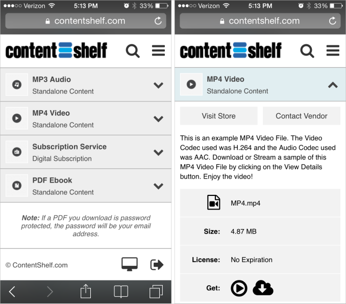 Content Shelf Mobile Buyers Area Screenshot Part 1